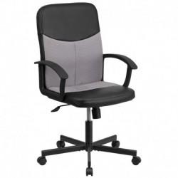 MFO Mid-Back Black Vinyl Task Chair with Light Gray Mesh Inserts