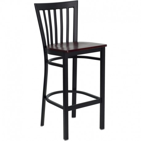 MFO Black School House Back Metal Restaurant Bar Stool - Mahogany Wood Seat