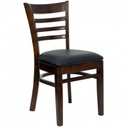MFO Walnut Finished Ladder Back Wooden Restaurant Chair - Black Vinyl Seat