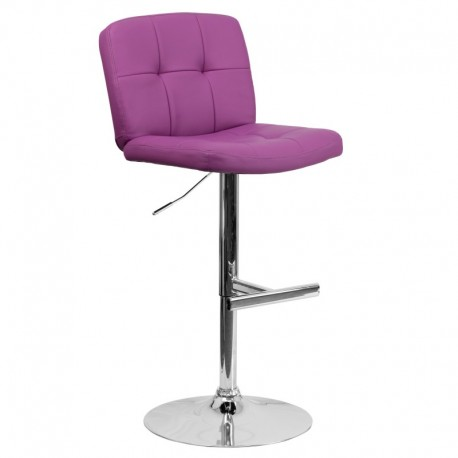 MFO Contemporary Tufted Purple Vinyl Adjustable Height Bar Stool with Chrome Base