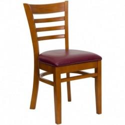 MFO Cherry Finished Ladder Back Wooden Restaurant Chair - Burgundy Vinyl Seat