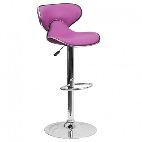 MFO Contemporary Cozy Mid-Back Purple Vinyl Adjustable Height Bar Stool with Chrome Base