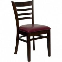 MFO Walnut Finished Ladder Back Wooden Restaurant Chair - Burgundy Vinyl Seat