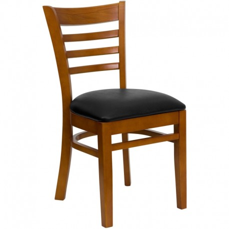 MFO Cherry Finished Ladder Back Wooden Restaurant Chair - Black Vinyl Seat
