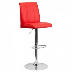 MFO Contemporary Red Vinyl Adjustable Height Bar Stool with Chrome Base
