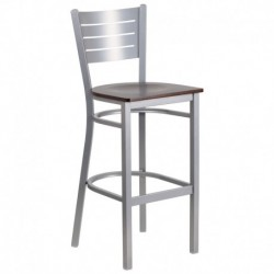 MFO Silver Slat Back Metal Restaurant Barstool - Walnut Wood Seat