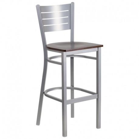 MFO Silver Slat Back Metal Restaurant Barstool - Walnut Wood Seat