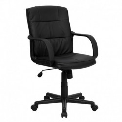 MFO Mid-Back Black Leather Office Chair with Nylon Arms