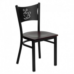 MFO Black Coffee Back Metal Restaurant Chair - Mahogany Wood Seat