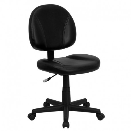 MFO Mid-Back Black Leather Ergonomic Task Chair