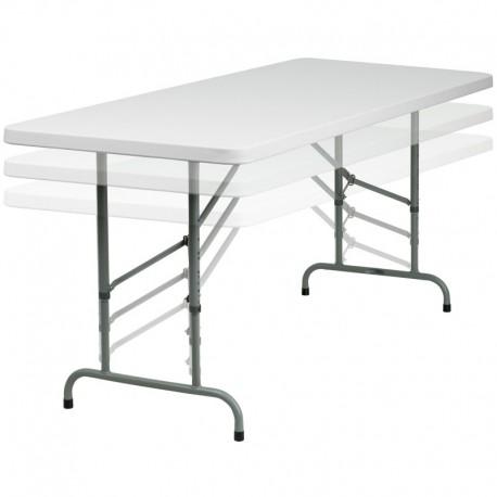MFO 30''W x 72''L Height Adjustable Granite White Plastic Folding Table