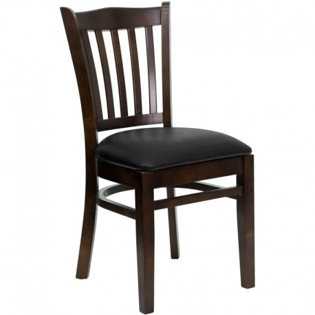 MFO Walnut Finished Vertical Slat Back Wooden Restaurant Chair - Black Vinyl Seat