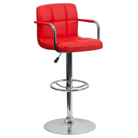 MFO Contemporary Red Quilted Vinyl Adjustable Height Bar Stool with Arms and Chrome Base