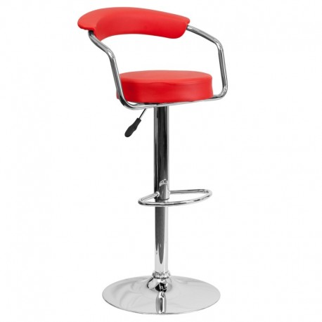 MFO Contemporary Red Vinyl Adjustable Height Bar Stool with Arms and Chrome Base
