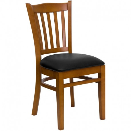 MFO Cherry Finished Vertical Slat Back Wooden Restaurant Chair - Black Vinyl Seat