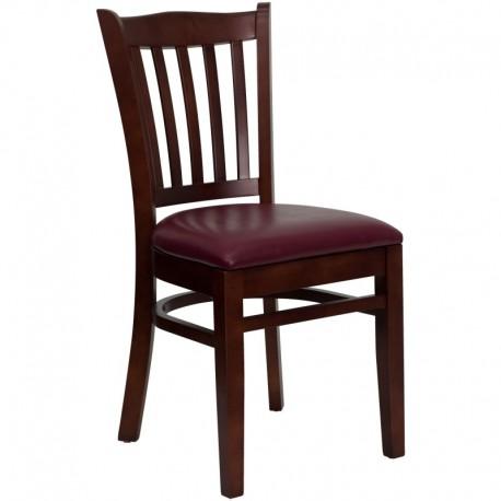 MFO Mahogany Finished Vertical Slat Back Wooden Restaurant Chair - Burgundy Vinyl Seat