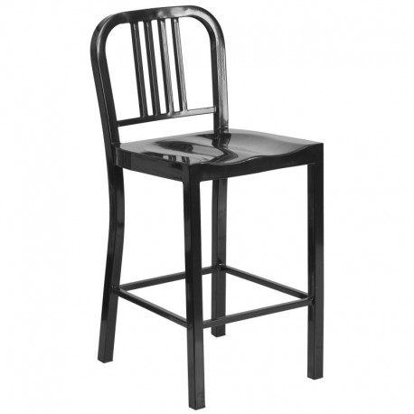 MFO 24'' Black Metal Counter Height Stool
