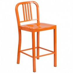 MFO 24'' Orange Metal Counter Height Stool