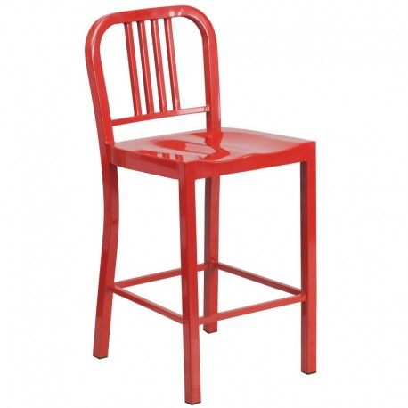 MFO 24'' Red Metal Counter Height Stool