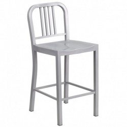 MFO 24'' Silver Metal Counter Height Stool