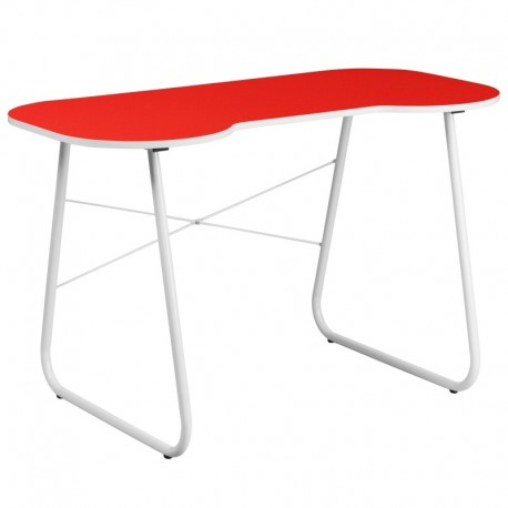 MFO Red Computer Desk with White Frame