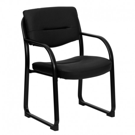 MFO Black Leather Executive Side Chair with Sled Base