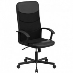 MFO High Back Black Vinyl Executive Chair with Mesh Inserts