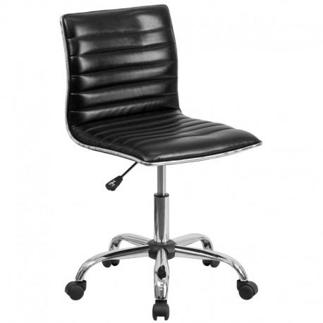 MFO Mid-Back Armless Black Ribbed Designer Task Chair