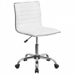 MFO Mid-Back Armless White Ribbed Designer Task Chair