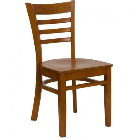 MFO Cherry Finished Ladder Back Wooden Restaurant Chair