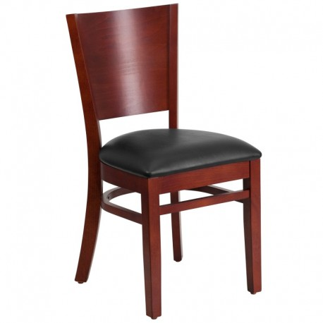 MFO Chimera Collection Solid Back Mahogany Wooden Restaurant Chair - Black Vinyl Seat