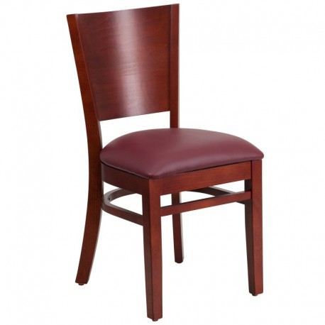 MFO Chimera Collection Solid Back Mahogany Wooden Restaurant Chair - Burgundy Vinyl Seat