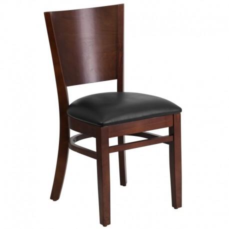 MFO Chimera Collection Solid Back Walnut Wooden Restaurant Chair - Black Vinyl Seat