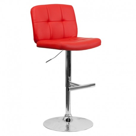 MFO Contemporary Tufted Red Vinyl Adjustable Height Bar Stool with Chrome Base