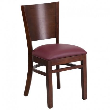 MFO Chimera Collection Solid Back Walnut Wooden Restaurant Chair - Burgundy Vinyl Seat
