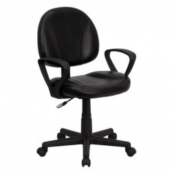 MFO Mid-Back Black Leather Ergonomic Task Chair with Arms