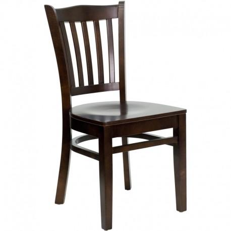 MFO Walnut Finished Vertical Slat Back Wooden Restaurant Chair