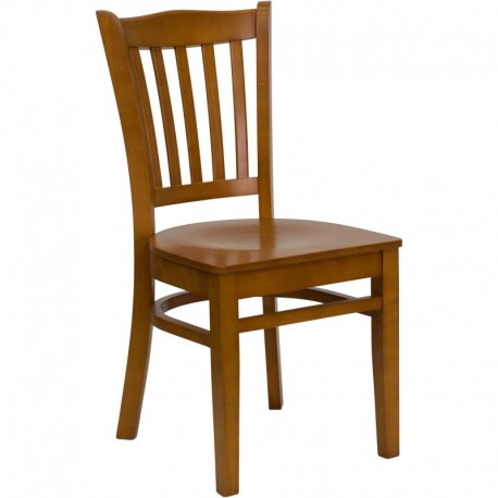 MFO Cherry Finished Vertical Slat Back Wooden Restaurant Chair