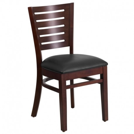 MFO Fervent Collection Slat Back Walnut Wooden Restaurant Chair - Black Vinyl Seat