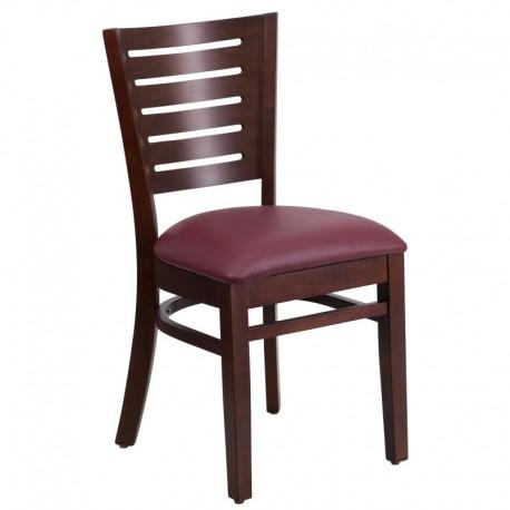 MFO Fervent Collection Slat Back Walnut Wooden Restaurant Chair - Burgundy Vinyl Seat