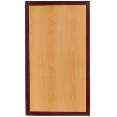 MFO 30'' x 42'' Rectangular Two-Tone Resin Cherry and Mahogany Table Top