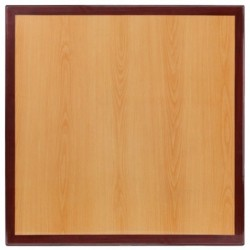 MFO 36'' Square Two-Tone Resin Cherry and Mahogany Table Top