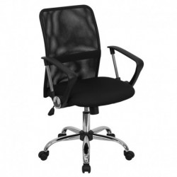 MFO Mid-Back Black Mesh Computer Chair with Chrome Finished Base