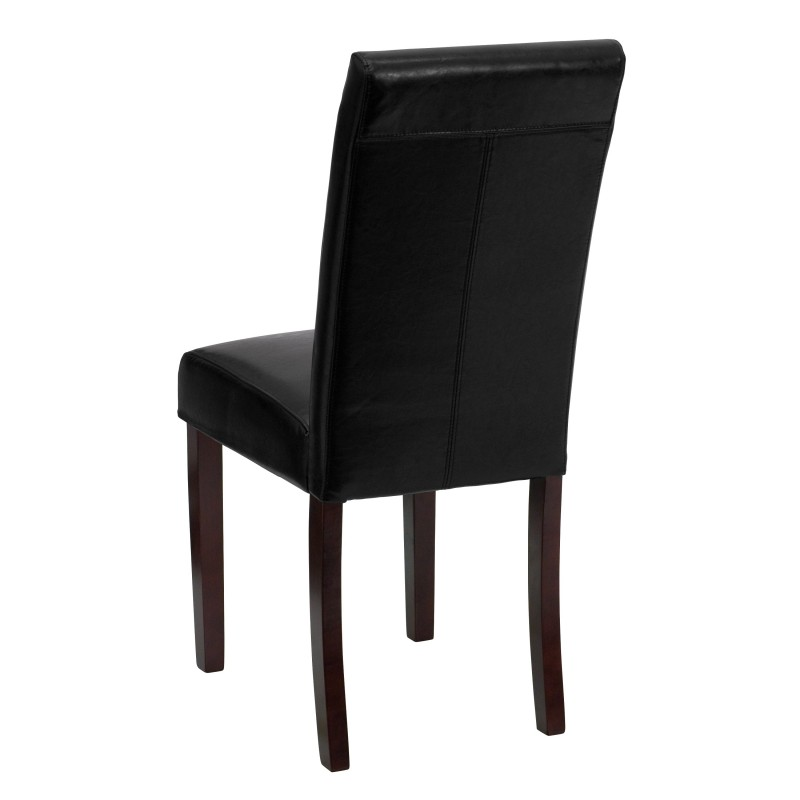 Mfo black leather upholstered parsons chair for Black leather parsons chairs