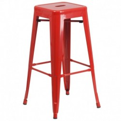 MFO 30'' Backless Red Metal Bar Stool