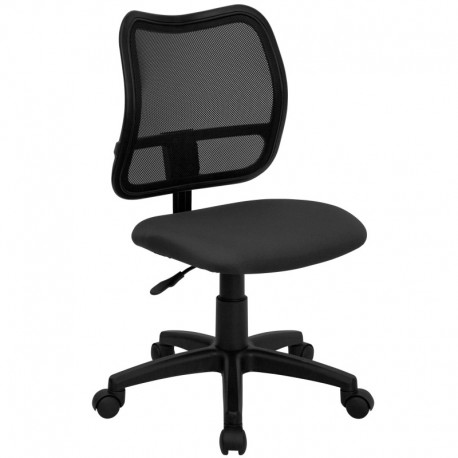 MFO Mid-Back Mesh Task Chair with Gray Fabric Seat