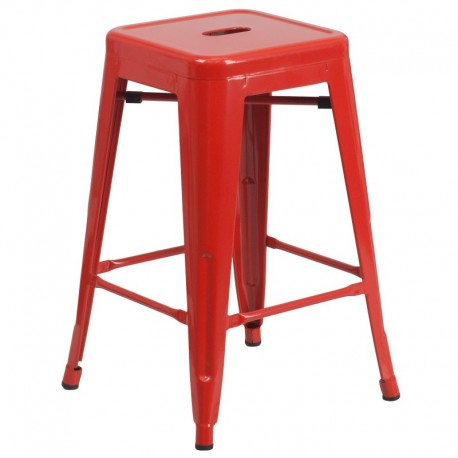 MFO 24'' Backless Red Metal Counter Height Stool