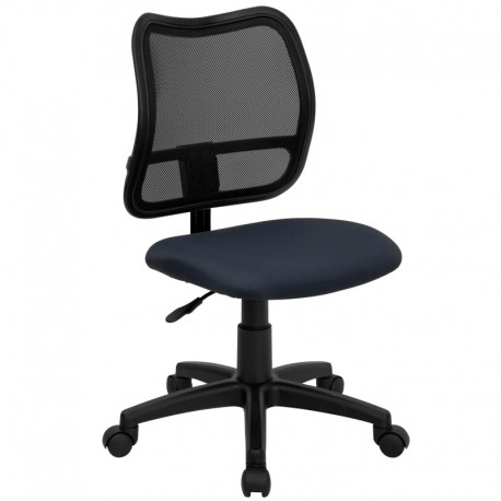 MFO Mid-Back Mesh Task Chair with Navy Blue Fabric Seat