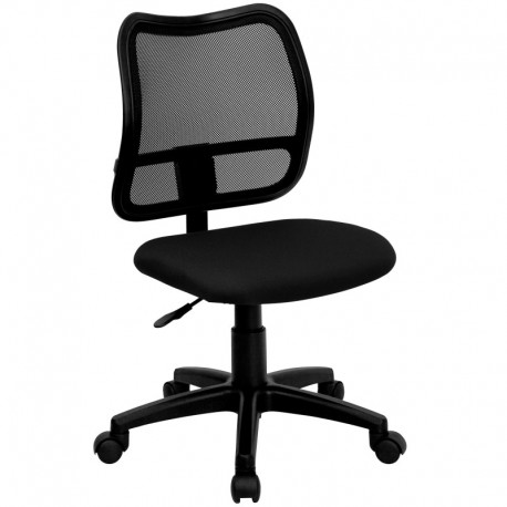 MFO Mid-Back Mesh Task Chair with Black Fabric Seat