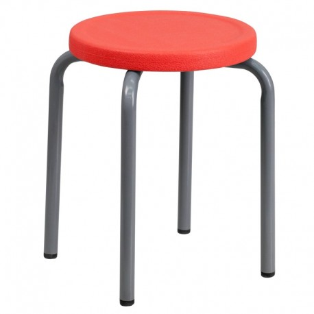 MFO Stackable Stool with Red Seat and Silver Powder Coated Frame